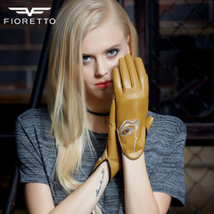 The autumn tide sheepskin leather gloves Ms. Korean fashion personality all-match outdoor locomotive leather gloves Mustard in the spinning