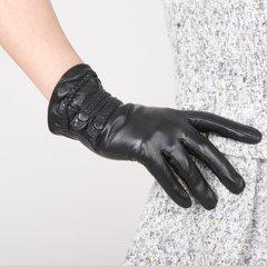 Leather gloves, winter, Korean fashion, small braids, sheepskin gloves, women's imports, small goats, leather gloves Brown (velvet lining)