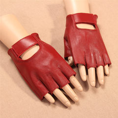 Ladies leather, semi finger gloves, riding, driving, sunscreen, light money, half finger, lady gloves, exercise, fitness Red [thin sunscreen breathable]
