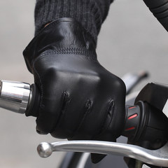 Leather gloves, leather gloves, men, autumn and winter plus thickening, warm, short bike, outdoor cold gloves Hundred percent true cowhide