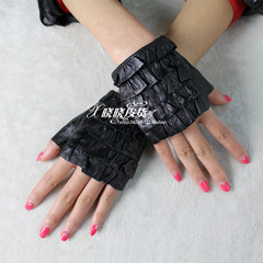 Spring and autumn short ladies leather gloves, foreign trade fold, 5 layer lace, sheepskin short gloves, even refers to finger gloves Black 6.5 yards