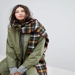 Ms. Barbour, cashmere, wool, plaid stripes, tassels, winter scarves Gray green plaid