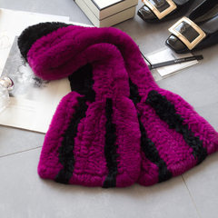 2016 new female Rex Rabbit scarf Plush wool scarf scarf collar rabbit fur really in autumn and winter Rose Black