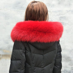 Extra large fox fur collar, hat, down coat, wool collar, top collar, fur collar, cuff fur scarf, light grey cloth, 80 face 16cm