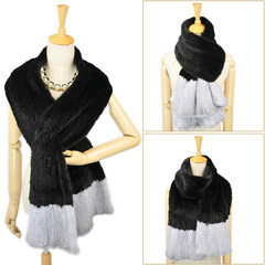 Noble fashion mink knitted scarf shawl lengthened and widened dense small color fur Mink Collar female warm Black plus sapphire grey