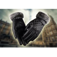 Men's hair leather gloves, autumn and winter warm, waterproof, windproof, suede, thickening, touch screen, riding, driving, cotton gloves, men Black Diamond