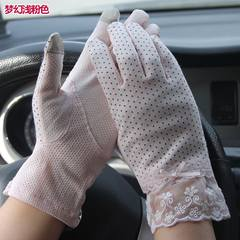 Lady Xia Chunmian, sun gloves, cycling, lace, bow, knob, anti UV, touch screen, antiskid gloves, dream, light pink.