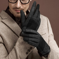 Gloves, men, autumn and winter, cashmere, cashmere, thin, business warm touch screen, cold skin gloves Enterprise company issued invoices, contact customer service