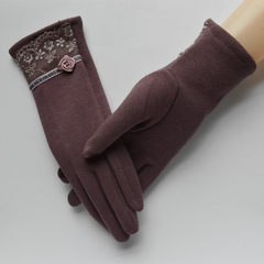 Lace touch screen gloves, winter heating, hand thickening, touch screen gloves, Korean version, cotton gloves, comfortable lady, bean paste and purple general.