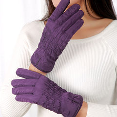 Down cotton gloves, women's winter, lovely Korean version, students' warmth and thickening, windbreak touch screen, riding skiing gloves, rose purple.