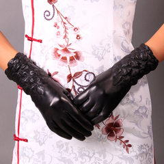 Minai children leather gloves factory direct new female winter in the long and thick warm velvet touch screen. Black Cashmere