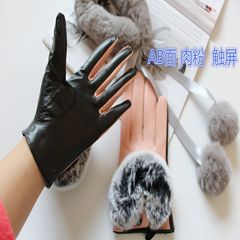 Rex shearling female student winter gloves collocation really mousse drive plus velvet touch screen color hot Pink touch screen