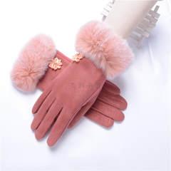 女士保暖手套冬季加绒麂皮绒手套分指兔毛半毛口 兔毛口 粉色