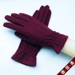 Autumn and winter new single cashmere, wool gloves, five fingers driving, warm, cold ride, thin refers to the Korean version Wine red, single touch screen