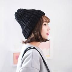 新款2016冬天铁环针织帽保暖护耳帽学生简约百搭帽子女韩国毛线帽 M(56-58cm)