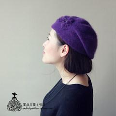The autumn winter warm ear Diamond Flower Hat female Japanese Sen female literary fresh rabbit hair knitted Beret M (56-58cm)