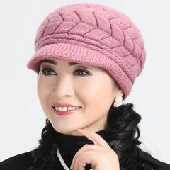 Knitted wool, an old hat, an elderly hat, a lady in winter, a mother hat, a thickening cap in autumn and winter Adjustable