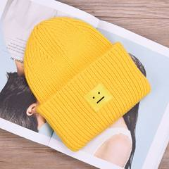 Hot NF roll edge, smiling face, cashmere cap, children's winter, candy color wool cap, lovers' thickening cashmere knitting M (56-58cm)