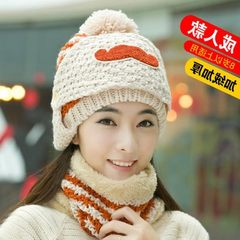Japanese hats, ladies, Korean tide knitted hats, pure cotton, autumn, winter, young wool cap, mask, velvet S (54-56cm)