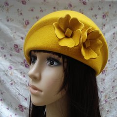 Shipping airline stewardess cap pure wool hat Vintage Feather Hat Beret female autumn winter small ceremony