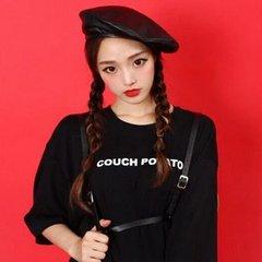 Korea autumn big with stylish Leather Hat Beret Hat Korean female painter bud tide M (56-58cm)