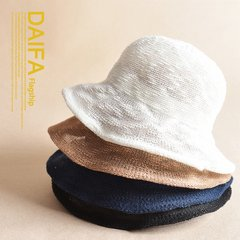 Solid hollow fisherman hat hat female female Korean summer tide all-match Korean travel England basin hat sun shading cap S (54-56cm)