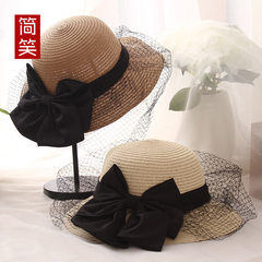 The summer lady hat Sen female hat big bow mesh breathable beach folding fisherman hat wholesale Adjustable
