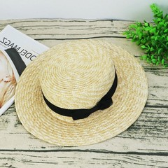 The summer sun hat flat straw hat Korean small fresh Bow Hat all-match travel England flatcap M (56-58cm)