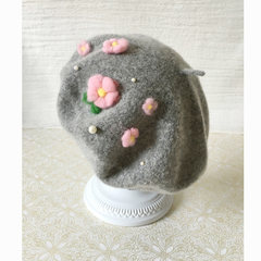 The original design of Flower Hat Beret students gray hat pearl wool hat customizable CP hat M (56-58cm)