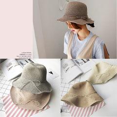 可折叠海边度假遮阳草帽特细手工编制渔夫盆帽夏天女士防晒太阳帽 可调节