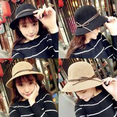 Small beautiful dome hat Sai woven anti sun hat female autumn winter Bow Hat Straw Hat Visor fisherman M (56-58cm)