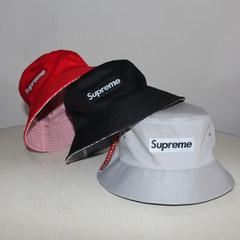 Supreme both sides wear fisherman's cap, pure color stripe basin cap, men and women tide flat top, fishing cap, sun visor, sun hat M (56-58cm)