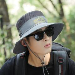 Sun hat, men's summer outdoor cap, large brimmed sun hat, anti ultraviolet fishing cap, fisherman's cap, male sun hat Adjustable