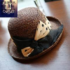 The triangle stitching technology of natural Raffia chocolate dome basin hat summer female sunshade hat Adjustable