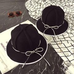 韩版秋冬蝴蝶结羊毛呢帽子百搭休闲纯色盆帽优雅名媛小礼帽子女 M(56-58cm)