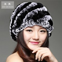 The new winter warm cap rabbit fur knitting wool hand woven hat cap bag mail lady special offer Adjustable Grey + Black