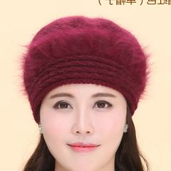 Middle aged mother rabbit hair hat qiu dong tian knitting wool old man`s hat scarf thick middle aged warm hat adjustable wine red (hat)