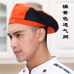 Western restaurant tea restaurant coffee shop working cap hotel chef hat waiter hat front hat beret S (54-56cm) orange breathable net