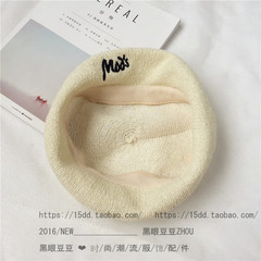 Spring and summer embroidered letters Beret Beret Cap painter octagonal cap cotton knitted cap children Clay oven rolls. M (56-58cm) Milk white
