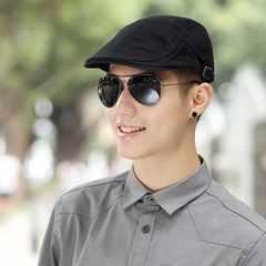 Uncle fan retro stripes warm woolen cap forward peaked cap spring tide Cap Hat Beret male artist Adjustable Dark grey