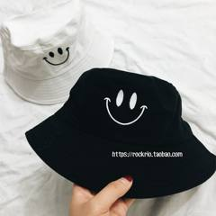 ROCKRIO smiley face embroidery, fisherman hat, sun hat, round basin cap, black and white color Adjustable White smiling fisherman