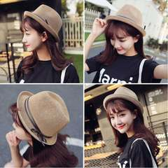 Women's summer flat roof, hat, sunshade, bow tie, grass hat M (56-58cm) Light beige short cap jazz hat to the figure