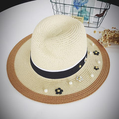 The new rivet flower summer hat of 2016 Korea edition is black and white patchwork straw hat fashion hat pearl straw hat summer hat for women M (56-58cm) pearl flower hat -- double color -- beige (concave shape)