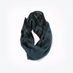 意大利进口GALLIENI 1889 绿色格纹波点羊毛围巾