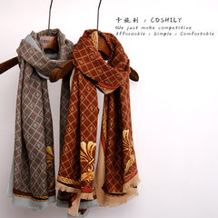 COSHILY British style thin, high-end small Plaid cashmere wool blended large Shawl Scarf