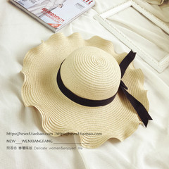 Summer sunshade hat children`s bowknot straw hat women`s sun hat straw hat broad-brimmed hat panama beach hat holiday M (56-58cm) wooden ear side bows - beige