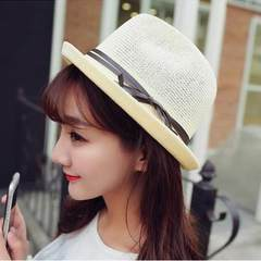Natural linen fashion holiday shopping jazz hat hat elderly outdoor breathable sunscreen head size Adjustable Milky white