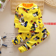 Girls wear thick warm winter clothing new Home Furnishing underwear set baby girl with long johns velvet suit 755 yellow mouse 105cm (D5 code reference height 105-110)