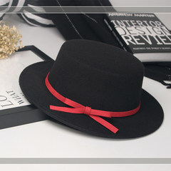 Autumn and winter England retro black top hat women`s trend Korean style bowknot woollen hat men`s Sir Hat trend M (56-58cm) watermelon color ribbon hat - black