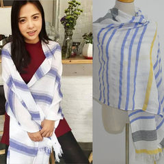 Spring and autumn new cotton scarf, female stripes, linen, art, summer solid color scarf, shawl dual-use, thin big shawl